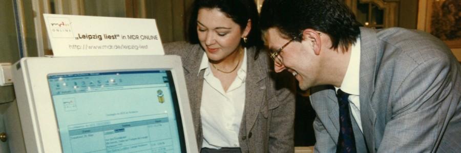Pressekonferenz Leipzig liest, 15. Februar 1998: Leipzig liest in MDR Online. © Leipziger Messe/Wesker & Rücker